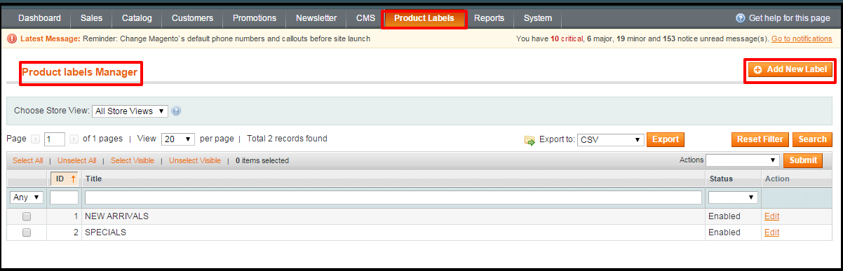 Magento Product Label and Ribbon Stickers Extension