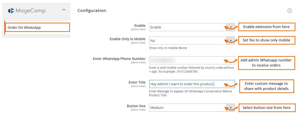 Magento 2 Order on Whatsapp