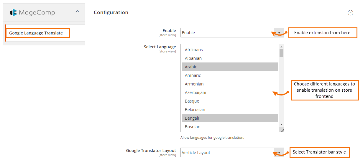 Magento 2 Google Language Translator