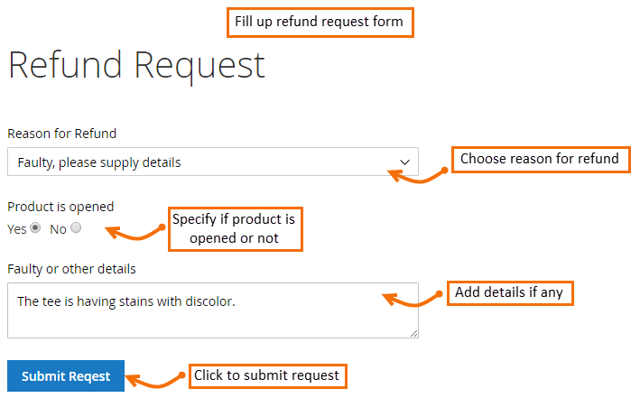Magento 2 Refund Request