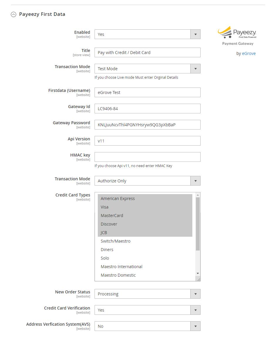 Magento 2 Firstdata GGE4 API Extension