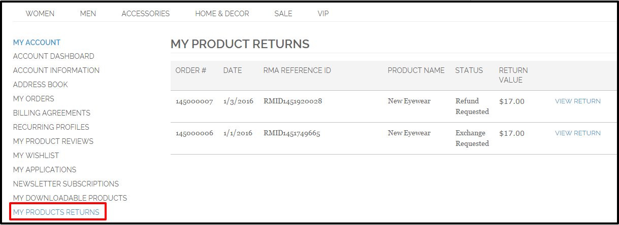 Magento RMA Returns Management