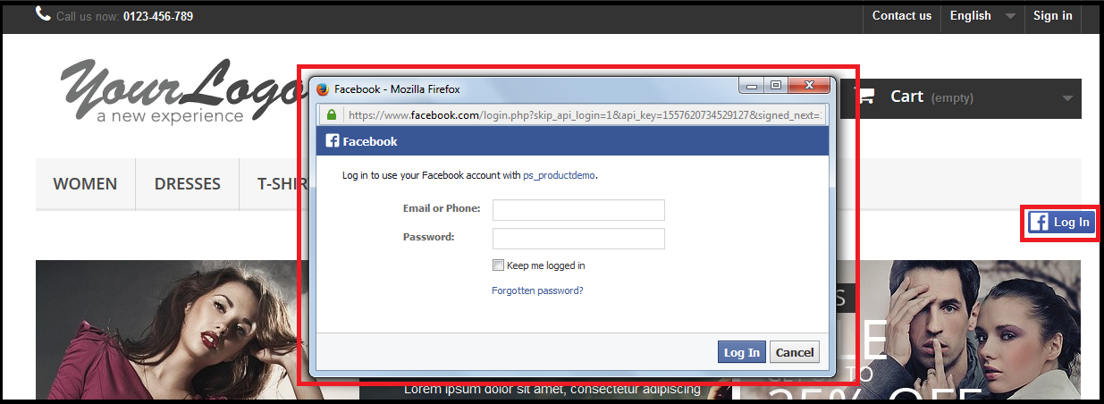 Prestashop Facebook Connect Module
