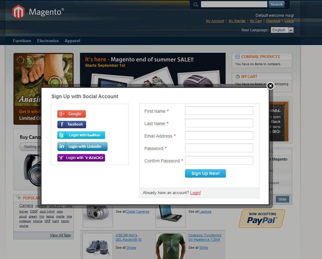 Magento 5 in 1 Social Login