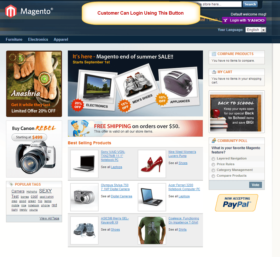 Magento Yahoo Login extension