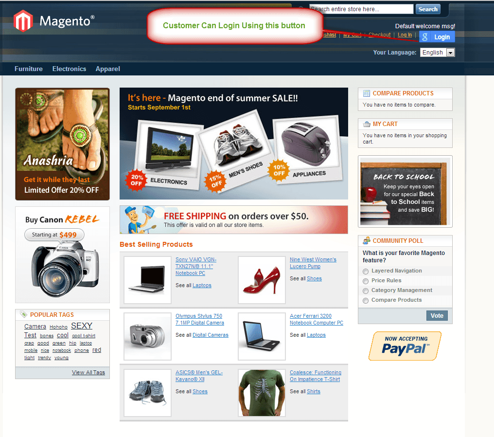 Free magento google login extension google connect module for Magento homepage template