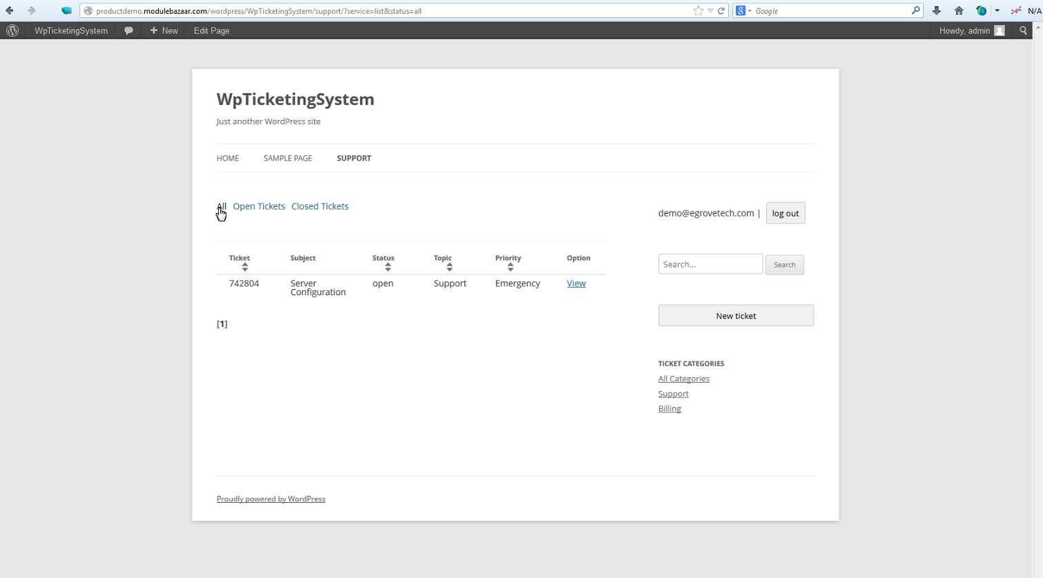 WP Ticketing System