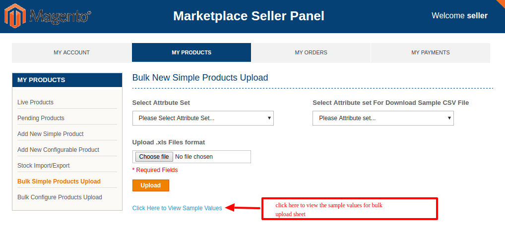 Seller Product Bulk Upload addon